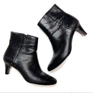 Tahari Black Leather Studded Heel Booties